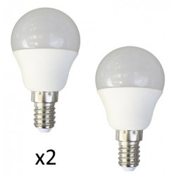 AMPOULE LED MINI SPHERIQUE OPAQUE E14 4 Watts (X2)